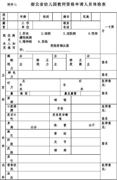 公办幼儿园入职体检报告(图1)